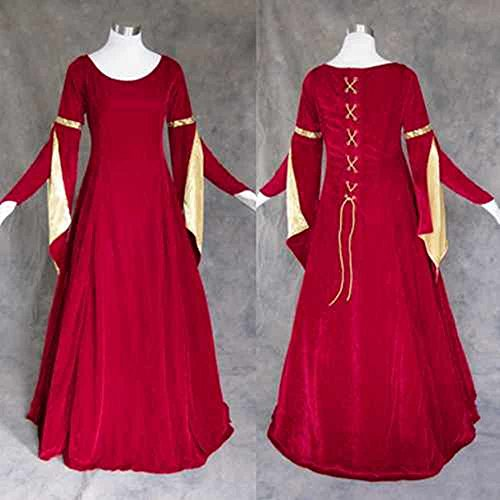 Artemisia Designs Medieval Renaissance Gown Dress Red Velvet with Gold Small