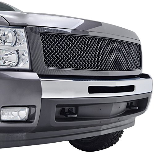 E-Autogrilles 07-13 Chevrolet Silverado 1500 Black Carbon Fiber Look ABS Replacement Mesh Grille Grill with Shell (41-0118CF) (2008 Chevy Silverado 1500 Grill compare prices)