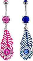 Multi-colored Peacock Feather With Gems Belly Ring-Sapphire-Sold Individually