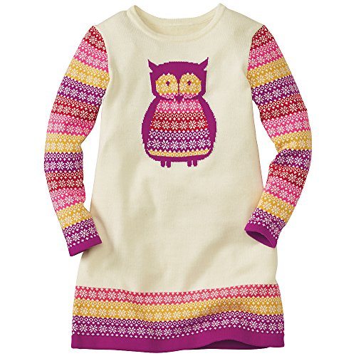 Hanna Andersson Big Girl Art Knit Sweater Dress, Size 130 (8), Snow front-816077