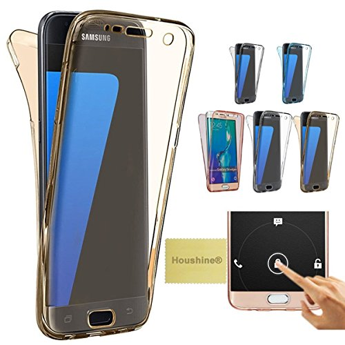 Note 4 case(Front+Back Cover Gel Series), Houshine Shockproof TPU 360 degree Protective Clear Crystal Rubber Soft Case Cover For Samsung Galaxy Note 4, Gold (Front And Back Case For Note 4 compare prices)