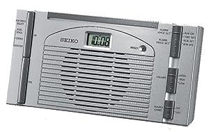 Seiko Bedside Talking Alarm Clock Silver-Tone Metallic Case