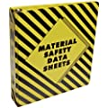 "Brady 58678 2"" Width, Black On Yellow Color MSDS Binder, Legend ""Material Safety Data Sheets"""