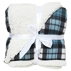 J & M Home Fashions Winter Plaid Mineral Sherpa Fleece Blanket, 50 by 60-Inch, Blue