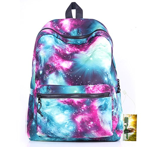 SKL-Galaxy modello unisex viaggio zaino Canvas Tempo libero Borse scuola borsa zaino, Green-New