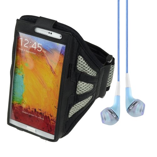 Black / Gray Adjustable Fabric Workout Armband For Samsung Galaxy Note 2 / Note 3 / Lg Optimus G Pro + Vangoddy Headphone With Mic,Blue
