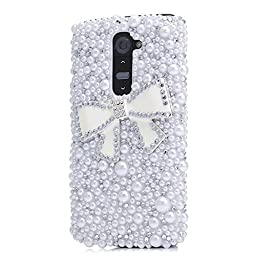 LG G Vista 2 Bling Case - Fairy Art Luxury 3D Sparkle Series Bowknot Pearl Crystal Design Back Cover with Soft Wallet Purse Red Cloth Pouch - White