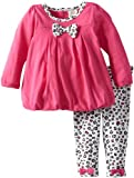 ABSORBA Baby-Girls Infant Bow Knit Tunic Legging, Dark Pink, 12 Months