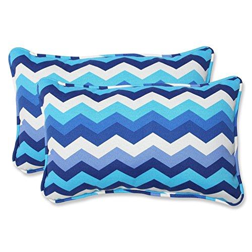 "Set of 2 Rayas Azules Blue, Navy and White Chevron Striped Outdoor Corded Throw Pillows 18.5"""