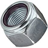 Carbon Steel Lock Nut, Zinc Plated Finish, Grade 2, Right Hand Threads, Nylon Insert, Inch