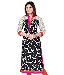 Fabpandora Women's Cotton Kurti (Black_Free Size)