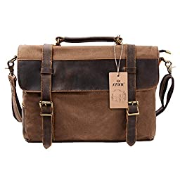 S ZONE Vintage Canvas Leather Messenger Traveling Briefcase Shoulder Laptop Bag