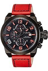 Invicta 18996 Men's Corduba Edge Black Dial Red Leather Strap Chronograph Watch