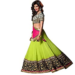 FabTexo Green Color Gerogette Embroidered Semi_Stiched Lehenga Choli For Women