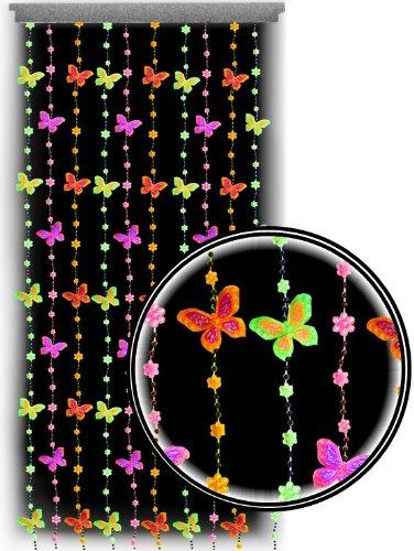 beaded curtains black light reactive neon butterflies