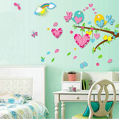 Wall Decals Stickers Paper Removable Home Living Dinning Room Bedroom Kitchen Decoration Art Murals Diy Stick Girls Boys Kids Nursery Baby Room Playroom Decorating + Gift 9 Pcs Butterflies (3D Birds And Tree)