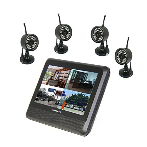 "2.4G Wireless 4Ch Quad Surveillance Dvr Ir Camera Cctv Home Security System 7"" Inch Tft-Lcd Monitor"