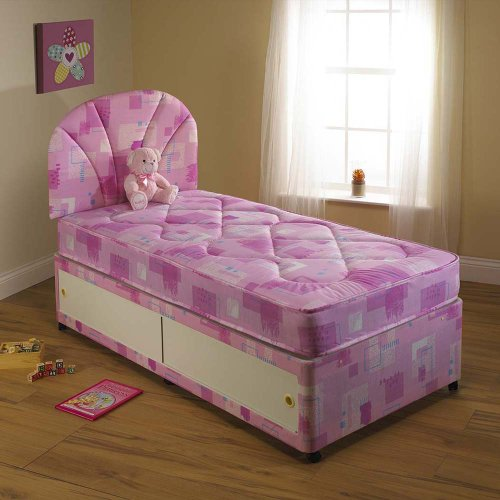 Children's KIDS PINK Divan BED Set, No Drawers with MATTRESS, Headboard not included, Size: 2ft6 Small Single - other sizes available