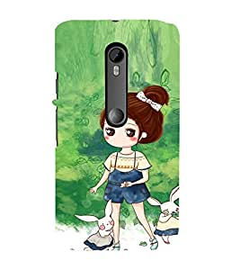 EPICCASE Gorgeous Girl and Rabbit Mobile Back Case Cover For Moto X Play (Designer Case)