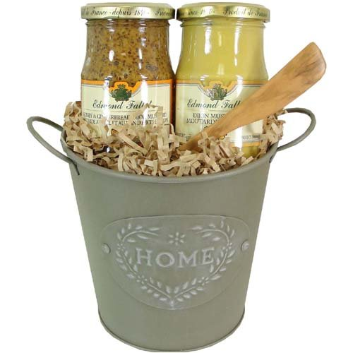 French Dijon Mustard Gift Basket with Spreader, Basil and Tarragon