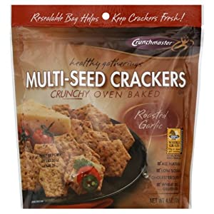 Crunchmaster Healthy Gatherings Multi-Seed Crackers, Roasted Garlic, 4.5 Ounce (Pack of 12)