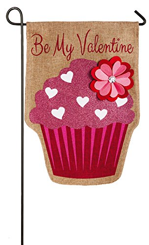 Evergreen Valentine Cupcake Burlap Garden Flag, 12.5 x 18 inches