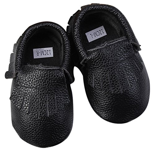 Unique Baby Unisex Real Cow Leather Baby Moccasins Colors XXS (4.3 inches) Black