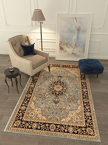 Persian Classic Light Blue 6'7'' x 9'6'' Area Rug Oriental Floral Motif Detailed Classic Pattern Antique Living Dining Room Bedroom Hallway Office Carpet Stain Resistant Traditional Soft Plush Quality (Cool Dining Set compare prices)