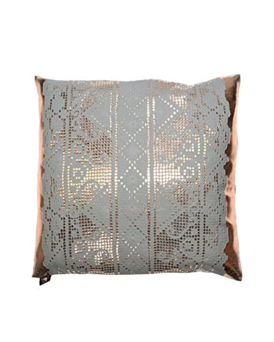 Aviva Stanoff German Lace and Weave Vinyl Pillow, Rose/Gold