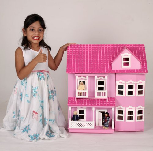 New MamaKiddies Victorian Pink Wooden Dolls House with complete furniture and 4 dolls