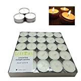 Littras White Unscented Tealight Candles 50pack,7x 7x0.7inche Prime Quality Vegetable Palm Oil Wax Votive Tealight candles