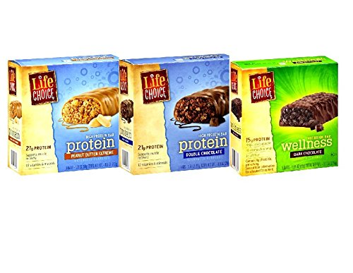 Life Choice, High Potein Nutrition Bars Variety Pack: 1 Box Of Double Chocolate, 1 Box Of Fudge Graham, And 1 Box Of Peanut Butter Extreme-5 Bars Per Box (3 Pack)