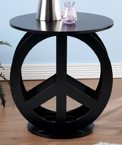 Buy Low Price Peace Sign Black End Accent Table display stand (B005NI3KGA)