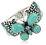 Vintage Inspired Faux Turquoise Jeweled Crystal Butterfly Burnish Silver Tone Hinged Bangle Bracelet