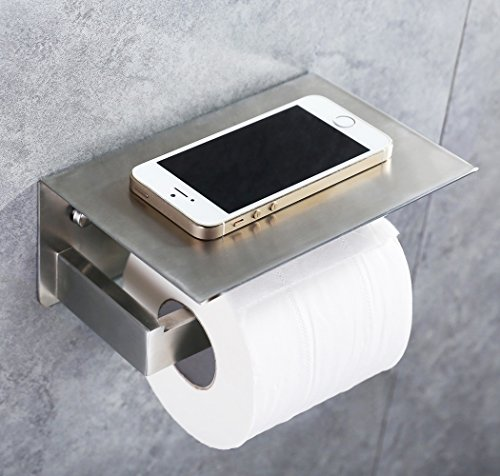 Toilet Paper Holder, SUS304 Stainless Steel Bathroom Tissue Holder with Mobile Phone Storage Shelf Brushed Nickel APL-8912F
