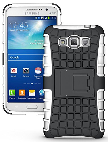NAKEDCELLPHONE'S WHITE GRENADE GRIP RUGGED TPU SKIN HARD CASE COVER STAND FOR SAMSUNG GALAXY GRAND MAX PHONE (SM-G7200