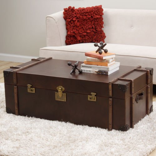 Journey Vintage Tobacco Dark Walnut Leather Trunk Coffee Table. This Piece Makes a Great Addition to Your Home, Cabin or Cottage. Table Is Perfect for Hiding Storage and Adding a Touch of Rustic Decor Style to Any Room.