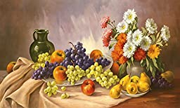 39W x 23H Fruit Still Life by E. Krã¼Ger - Stretched Canvas w/ BRUSHSTROKES