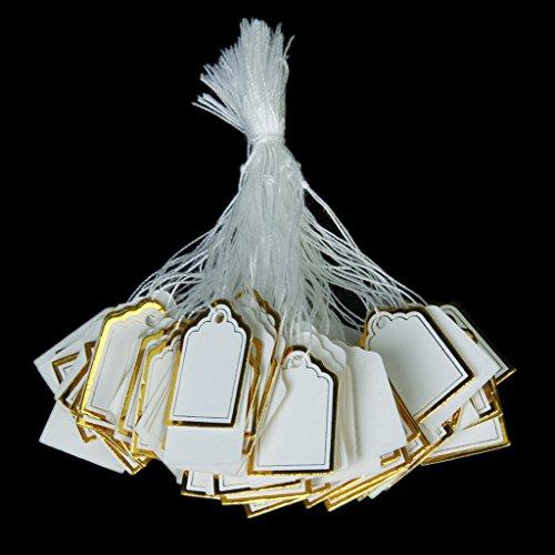 SODIAL(R) 500pcs etiquettes de Prix avec Cordes Suspendues Affichage de Vente de Bijoux Anneaux - Blanc et d'or