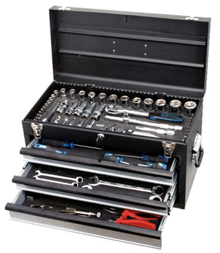 918.0100 Werkzeugsortiment Zoll Chrome Plus Zoll 99teilig in Metall-Werkzeugkiste - 3 Schubladen