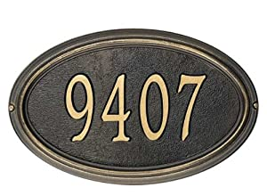 Whitehall Products Concord Oval Address Plaque - Standard Wall Plaque, Antique Copper - AC