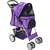 OxGord® Pet Stroller Cat / Dog Easy Walk Folding Travel Carrier Carriage - 2015 Newly Designed 4 Wheeler City Stride - Lavender Purple