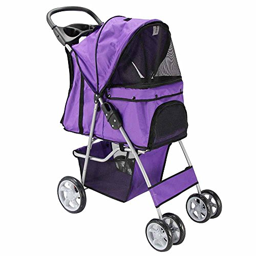 OxGord® Pet Stroller Cat / Dog Easy Walk Folding Travel Carrier Carriage – 2015 Newly Designed 4 Wheeler City Stride – Lavender Purple