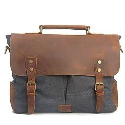 MOLLYGAN Men\'s Casual Canvas Schoolbag Crossbody Shoulder Messenger Bag ( Model B-Dark Grey)