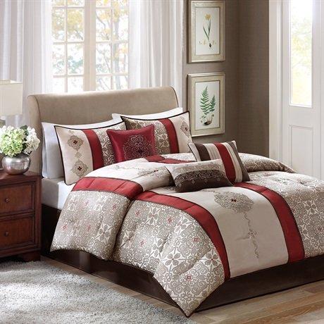 Madison Park Donovan 7 Piece Comforter Set - Red - King front-840348