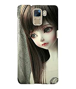 Fuson 3D Printed Cute Doll Designer Back Case Cover for Huawei Honor 7 - D721
