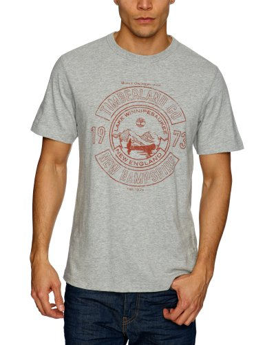 Timberland Clothing SS Heritage Crest Logo Men's T-Shirt Medium Grey Heather (MGH) Small