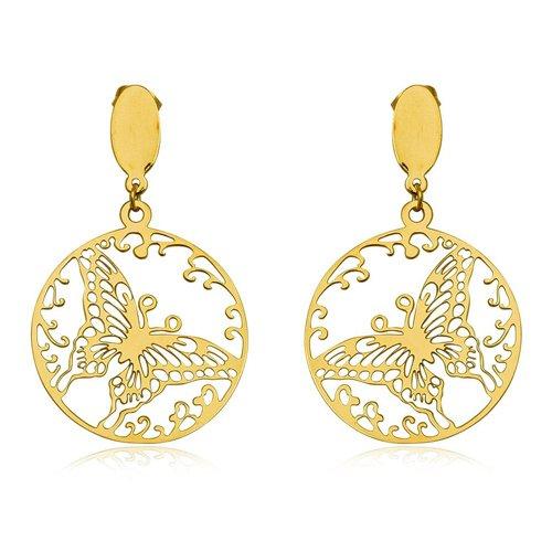 Stainless Steel Gold Jewelry Earrings 4.90cm