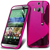 Fonecase Hot Pink HTC One M8 Protective S line Hydro Wave Gel Skin Case Cover, Retractable Touch Screen Stylus Pen & LCD Screen Protector Guard