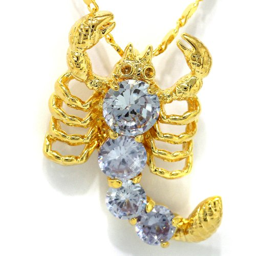 myCullinan Attractive Scorpion Yellow Gold Plated Simulated Tanzanite Pendant with 18